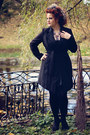 Black-dress-black-second-hand-coat-statement-zara-necklace