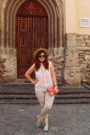 coral new look bag - beige meli melo hat - white sheer Ottorose shirt