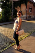 navy H&M jeans - light pink H&M bag - cream c&a sunglasses - Mango bracelet