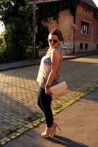 navy H&M jeans - light pink H&M bag - cream c&a sunglasses - Mango bracelet