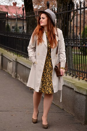 gold H&M dress - eggshell trench Orsay coat - periwinkle H&M hat