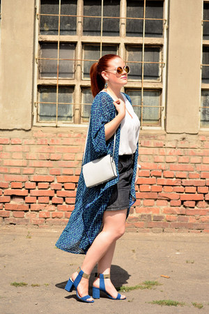 navy kimono H&M cape - periwinkle H&M bag - navy Orsay skirt