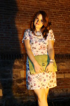 white Fossil watch - ivory floral print H&M dress - olive green asos bag