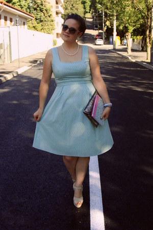 light blue polka dot Orsay dress - silver sequined Accessorize bag