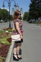 floral peplum Orsay top - light pink H&M bag - maroon c&a sunglasses
