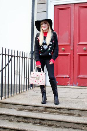black Primark boots - black Topshop jeans - black floppy 60s hat Topshop hat