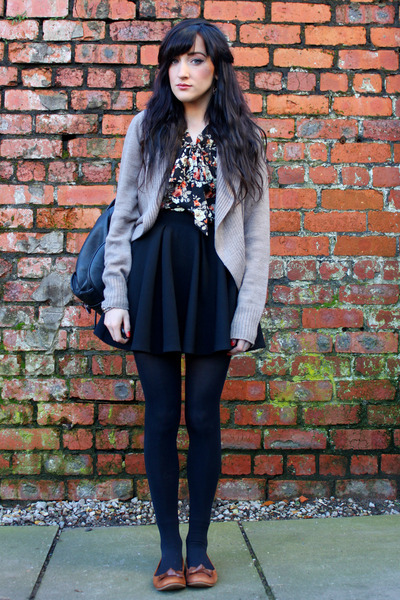 brown new look flats - dark gray Accessorize bag - black Miss Selfridge skirt