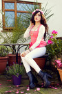 Black-choies-boots-white-miss-selfridge-jeans-hot-pink-miss-selfridge-top