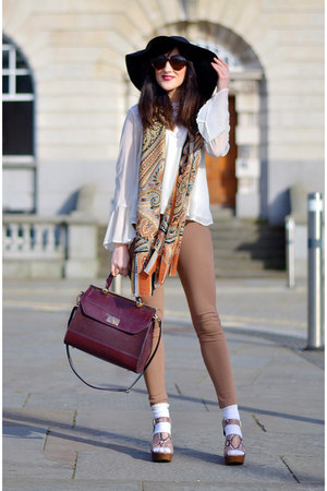black Topshop hat - camel new look leggings - carrot orange Fossil scarf