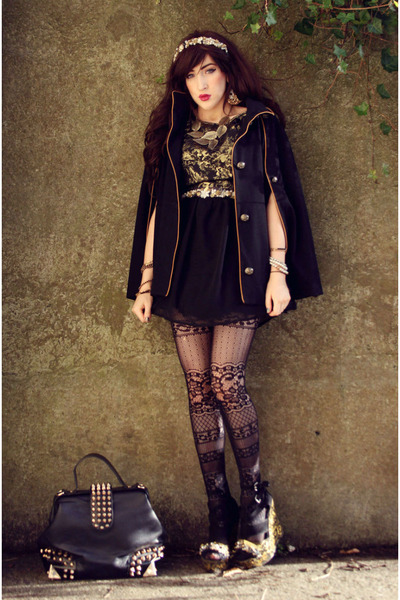 gold AX Paris dress - black OASAP bag - black Topshop cape