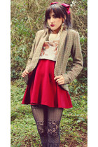 camel H&M blazer - black Claires tights - white Dizzy Little Dotty t-shirt