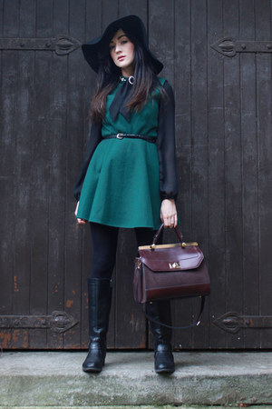 black Primark boots - dark green OASAP dress - black Topshop hat