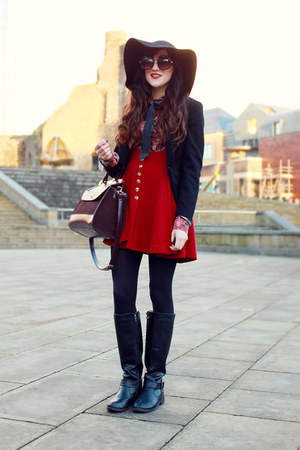 black Primark boots - black Topshop hat - black black blazer new look blazer