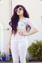 ivory Topshop pants - white Urban Outfitters sunglasses - light blue Topshop top