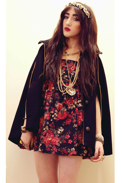 gold Topshop necklace - red DIY dress - black cape black gold Topshop coat
