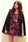 Red-diy-dress-black-cape-black-gold-topshop-coat-gold-diy-accessories