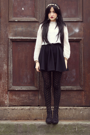 black new look boots - gold new look tights - black Miss Selfridge skirt