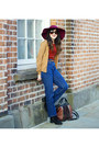 Black-new-look-boots-navy-thrifted-jeans-maroon-a-midnight-wonderland-hat