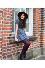 Black-new-look-boots-sky-blue-topshop-dress-maroon-accessorize-hat