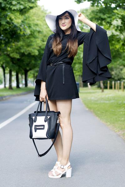 black OASAP dress - white LaRedoute hat - black monochrome bag OASAP bag