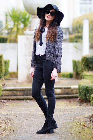 black new look boots - black Miss Selfridge jeans - black Topshop hat