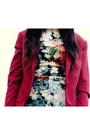 Turquoise-blue-floral-dress-warehouse-dress-ruby-red-red-blazer-h-m-blazer