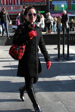 black boots - red gloves - coat - red bag