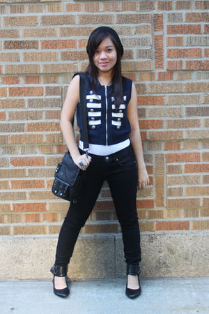 blue Forever 21 vest - black Forever 21 pants - black shoes - hat - black - blac