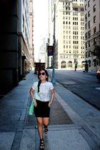white ax shirt - black skirt - black Charles & Keith shoes - blue bag - Forever