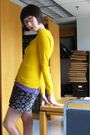 Gold-h-m-cardigan-purple-old-navy-black-secondhand-skirt-yellow-bandolino-