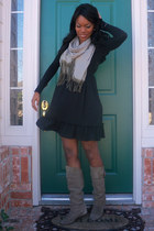 heather gray suede Bakers boots - black Ross Dress for Less dress - black Foreve