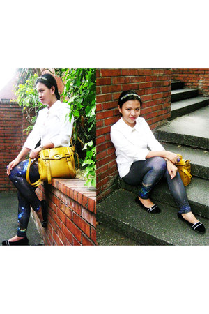 blue galaxy romwe leggings - mustard satchel Parisian bag