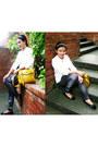 Blue-galaxy-romwe-leggings-mustard-satchel-parisian-bag