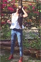 blue jeans - white cotton handmade blouse