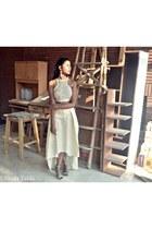 off white raw silk handmade blouse - off white raw silk handmade skirt