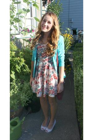 floral Forever 21 dress - aquamarine business casual Stoosh blazer