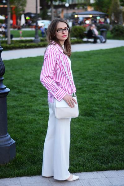 hot pink Marks&Spencer shirt - ivory unknown brand bag
