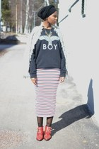 Ebay boots - Zara coat - Boy London sweater - asos skirt