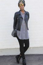 black Zara jacket - periwinkle Monki shirt - navy vintage scarf