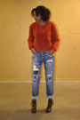 Ellos-shoes-blue-boyfriend-fit-zara-jeans-burnt-orange-monki-sweater