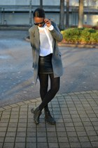 black Cubus skirt - heather gray H&M blazer - white Monki shirt
