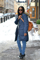 navy parka H&M jacket - black metal cap toe Ellos shoes - blue GINA TRICOT jeans