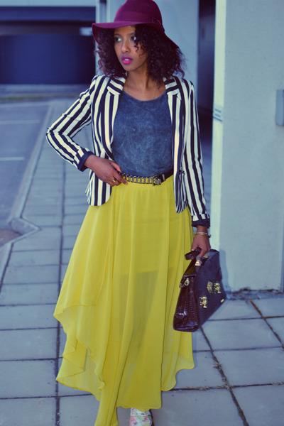 maroon fedora H&M hat - cream H&M shoes - stripe H&M blazer
