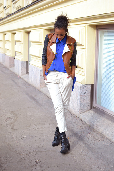 Forever 21 jacket - Nellycom shoes - Forever 21 shirt - chinos Zara pants