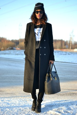 black maxi H&M coat
