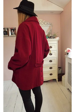 crimson Urban Outfitters coat - Dorothy Perkins boots - black calvin klein jeans