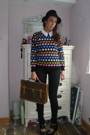 Urban Outfitters jumper - Topshop jeans - Topshop hat - vintage bag