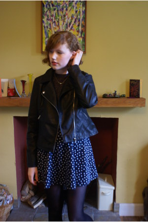 black leather Primark jacket - navy H&M dress - black Primark tights