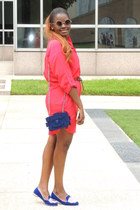 navy Chanel bag - carrot orange calvin klein dress - blue Miu Miu flats