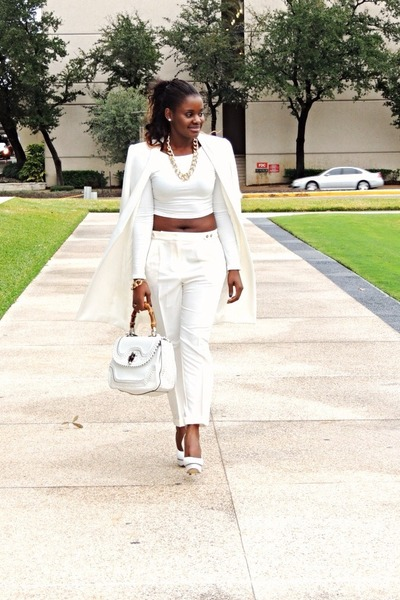white Zara coat - Forever 21 pants - Charlotte Olympia blouse